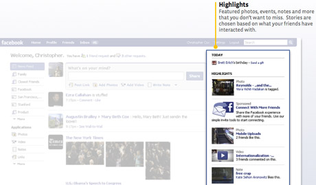 Facebook will pick highlights from your friends updates and publish these on the right-hand side