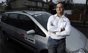 Taxi driver Ash Hussain in Shipley, West Yorkshire
