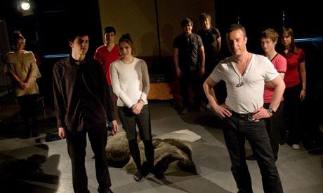 Gay teacher Ian Elmslie with students rehearsing Bent