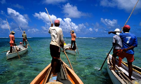 Fishing in the lagoon to the south of Rodrigues Island, Mauritius