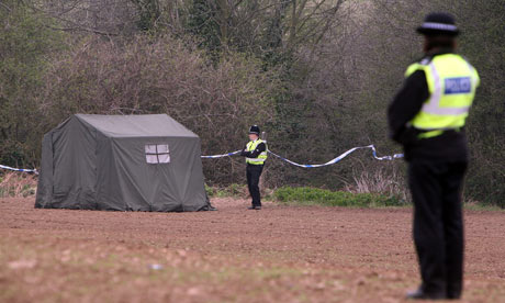 Police officers guard the ravine in Edlington where two boys were horrifically beaten