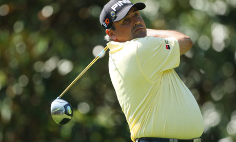 Angel Cabrera  in action at Augusta