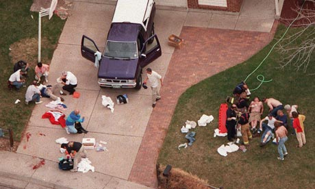 An aerial view shows a triage area near Columbine High School in Littleton