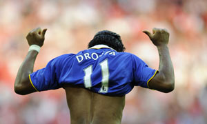 Chelsea's Didier Drogba scores against Arsenal