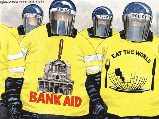 Police show two faces to G20 protesters - A cartoon by Steve Bell
