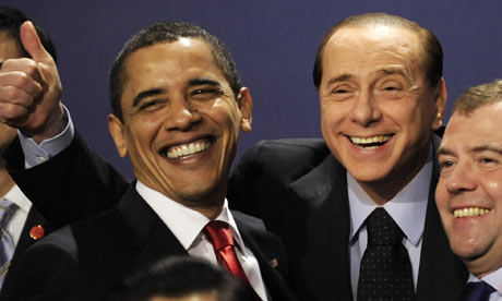 G20 summit: Barack Obama with Silvio Berlusconi and Dmitry Medvedev
