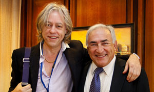 Bob Geldof and Dominique Strauss-Kahn at the IMF on Thursday.