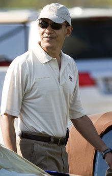 Barack Obama arrives at The Courses golf course at Andrews air force base