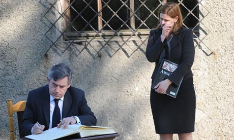 Gordon Brown and his wife Sarah at the Auschwitz concentration camp on 28 April 2009.