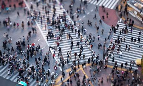 A Pedestrian scramble at Shibuya intersection, Tokyo, Japan.