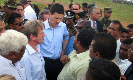 Kouchner and Miliband in Sri Lanka