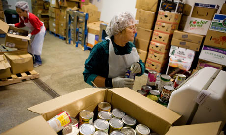 Food bank employees in Gassaway, West Virginia