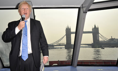 Boris Johnson launches plans to improve river travel in London, from a boat on the Thames.