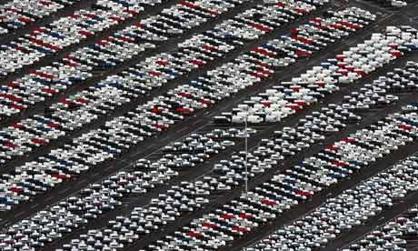 Hundreds of unsold cars line the docks at Avonmouth, Bristol