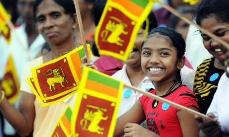 Sri Lankan Flag. Supporters wave the Sri Lankan