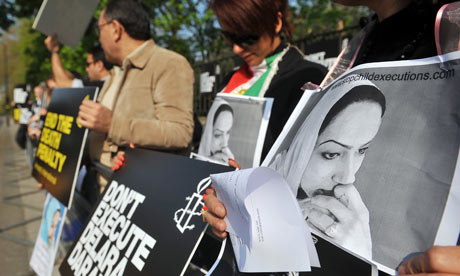 An Amnesty protest outside Iran's London embassy on 20 April 20 in support of Delara Darabi