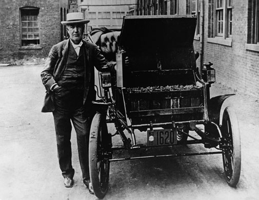 Green technologies: Thomas A. Edison with his Electric Car