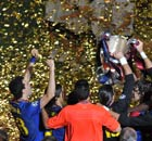 Barcelona lift the Champions League trophy