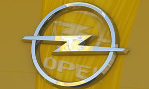 An Opel logo is pictured at a Opel dealer in Bochum