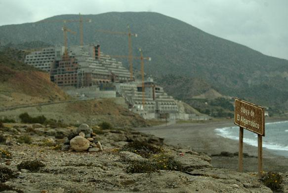 Spanish coastlines: 2005: An hotel complex on the Algarrobico beach in the Cabo de Gata park