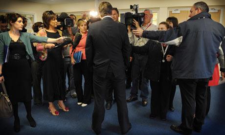 David Cameron speaks to the media in Barnsley