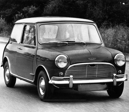 50 Years of the Mini: An Austin Morris Mini Cooper on the road in February 1963