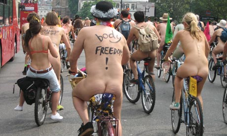 World Naked Bike Ride in London, 2007. Photograph: Rod Currie /WNBR