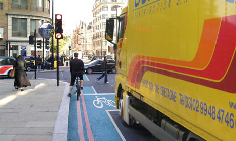 A so-called 'Trixi mirror' intended to stop lorries crashing into cyclists.