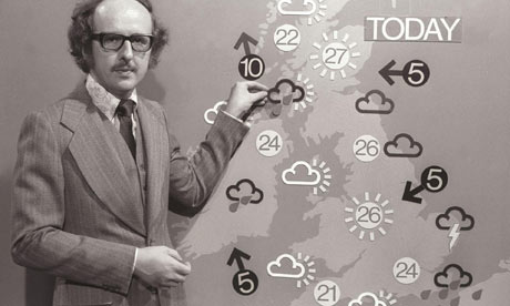 weird guy in front of weather map of england