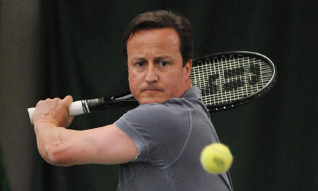 David Cameron plays tennis in west London