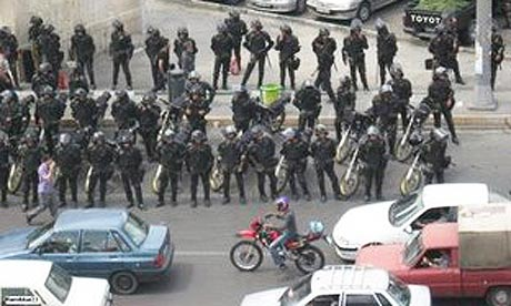 Iranian riot police stand guard in Tehran in this picture uploaded to a blog
