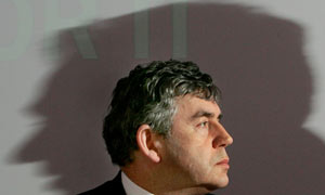 Gordon Brown at a news conference in London