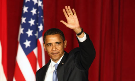 President Barack Obama waves after delivering landmark address to the Muslim world