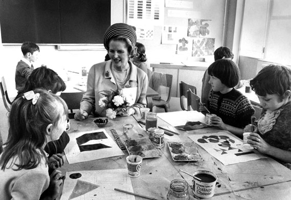 Margaret Thatcher: 1971: Education secretary Margaret Thatcher visits a school.