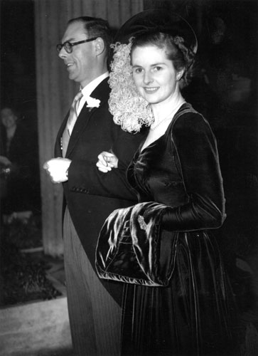 Margaret Thatcher: 1951: Margaret Roberts on her wedding day, with husband Denis