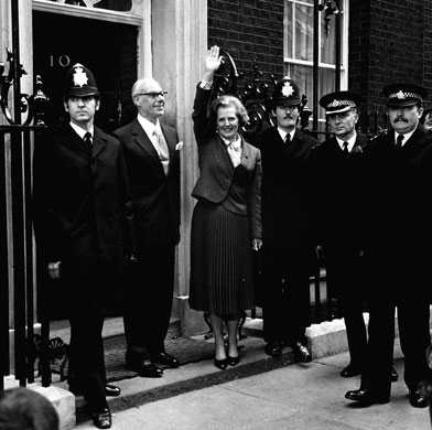 Margaret Thatcher: 1979: Margaret Thatcher outside 10 Downing Street as Prime Minister
