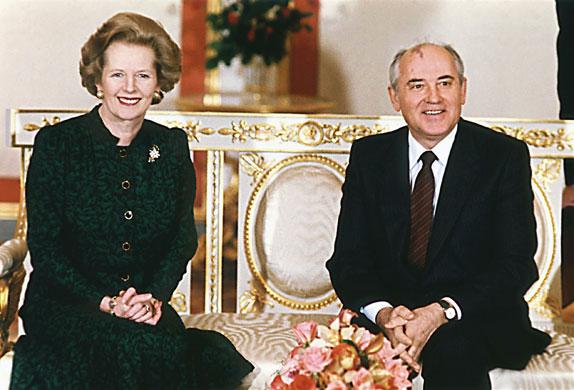 Margaret Thatcher: 1987: Prime Minister Margaret Thatcher and Soviet leader Mikhail Gorbachev