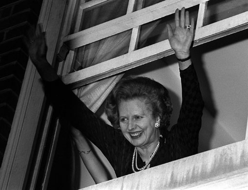 Margaret Thatcher: 1983: Jubilant Prime Minister Margaret Thatcher waves to well-wishers
