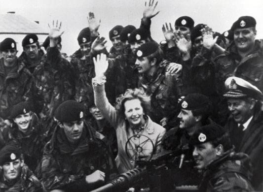 Margaret Thatcher: 1983: Margaret Thatcher visiting British troops on the Falkland Islands