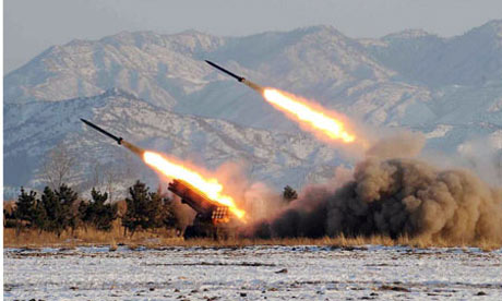 A missile-firing drill in North Korea