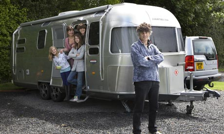 Tim Moore and family with Airstream Caravan