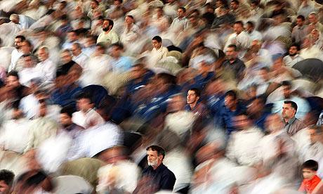 Iranians pray at Tehran University after Iran