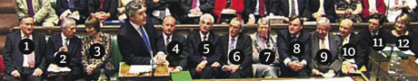 Gordon Brown's frontbench at PMQs
