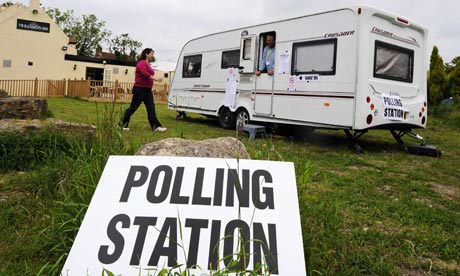 A woman at a polling station in Biggin