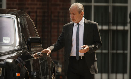 Sir Alan Sugar leaving Downing Street after meeting Gordon Brown on 4 June 2009.