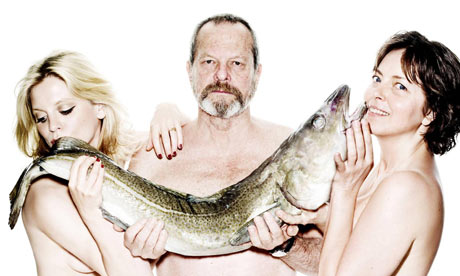 Emilia Fox, Terry Gilliam and Greta Scacchi pose naked with a fish