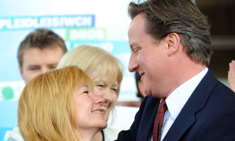 Kay Swinburne greets David Cameron