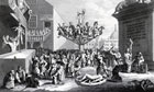 The South Sea Bubble bursts: a satirical illustration by William Hogarth
