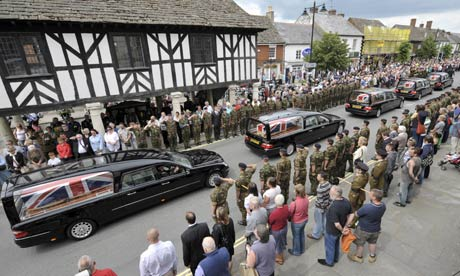 Hearses containing of dead soldiers