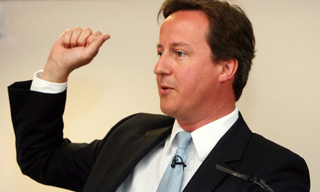 David Cameron launches the Tories' international development proposals in London on 13 July 2009.